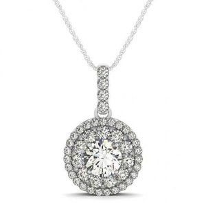 Round Diamond Pendant Necklace Without Chain 1.75
